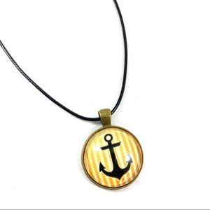 Jewelry - Anchor glass pendant leather cord necklace (w4)